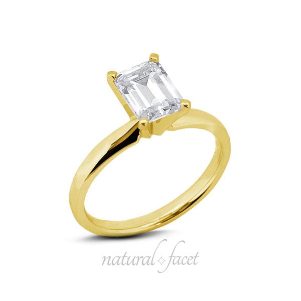 1.05 Carat D VVS1 Ideal Emerald Diamond Yellow gold Classic Solitaire Ring 2.6mm