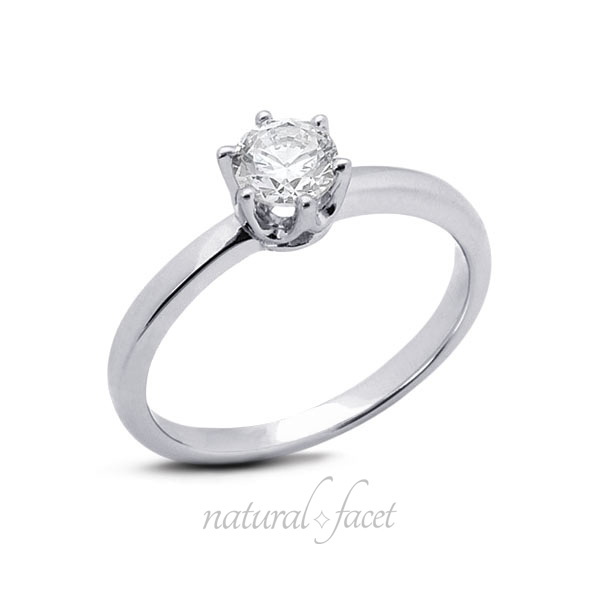 1.02 Carat D VVS1 Ideal Round Diamond White gold Crown Head Solitaire Ring 2.7mm