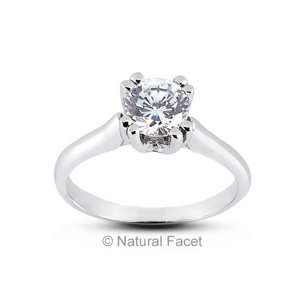 0.32 Carat F SI2 Ideal Cut Round AGI Certified Diamonds 950PL Classic Ring 2.4mm