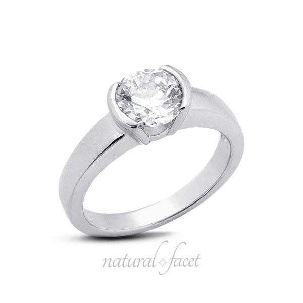 0.33ct E SI2 Very Good Round AGI Certified Diamond White gold Classic Ring 2.8mm