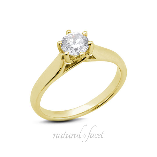 0.35 CT F VS1 Ideal Round AGI Certified Diamond Yellow gold Trellis Ring 2.6mm