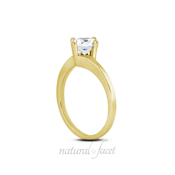0.35 CT H VS2 Ideal Round AGI Certified Diamond Yellow gold Classic Ring 1.7mm