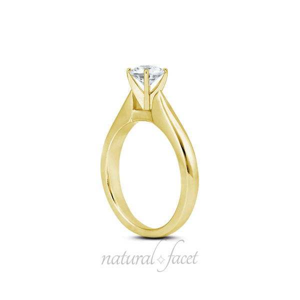 0.44 CT I SI3 Ideal Round AGI Certify Diamond Yellow gold Cathedral Ring 3.1mm
