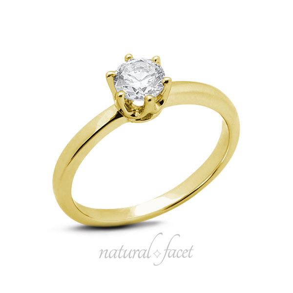 0.45ct G SI2 Ideal Round AGI Certified Diamond Yellow gold Crown Head Ring 2.3mm