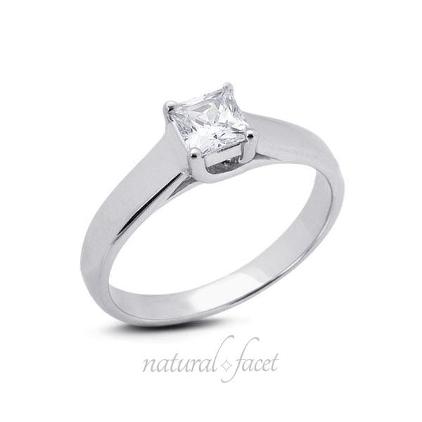 0.49 Carat F SI3 VG Princess AGI Certified Diamond White gold Trellis Ring 3.8mm