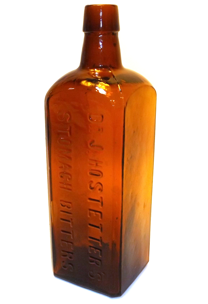 737fb912879b Details about Antique McKee & Co. Amber Glass Dr. J. Hostetter's Stomach  Bitters Bottle