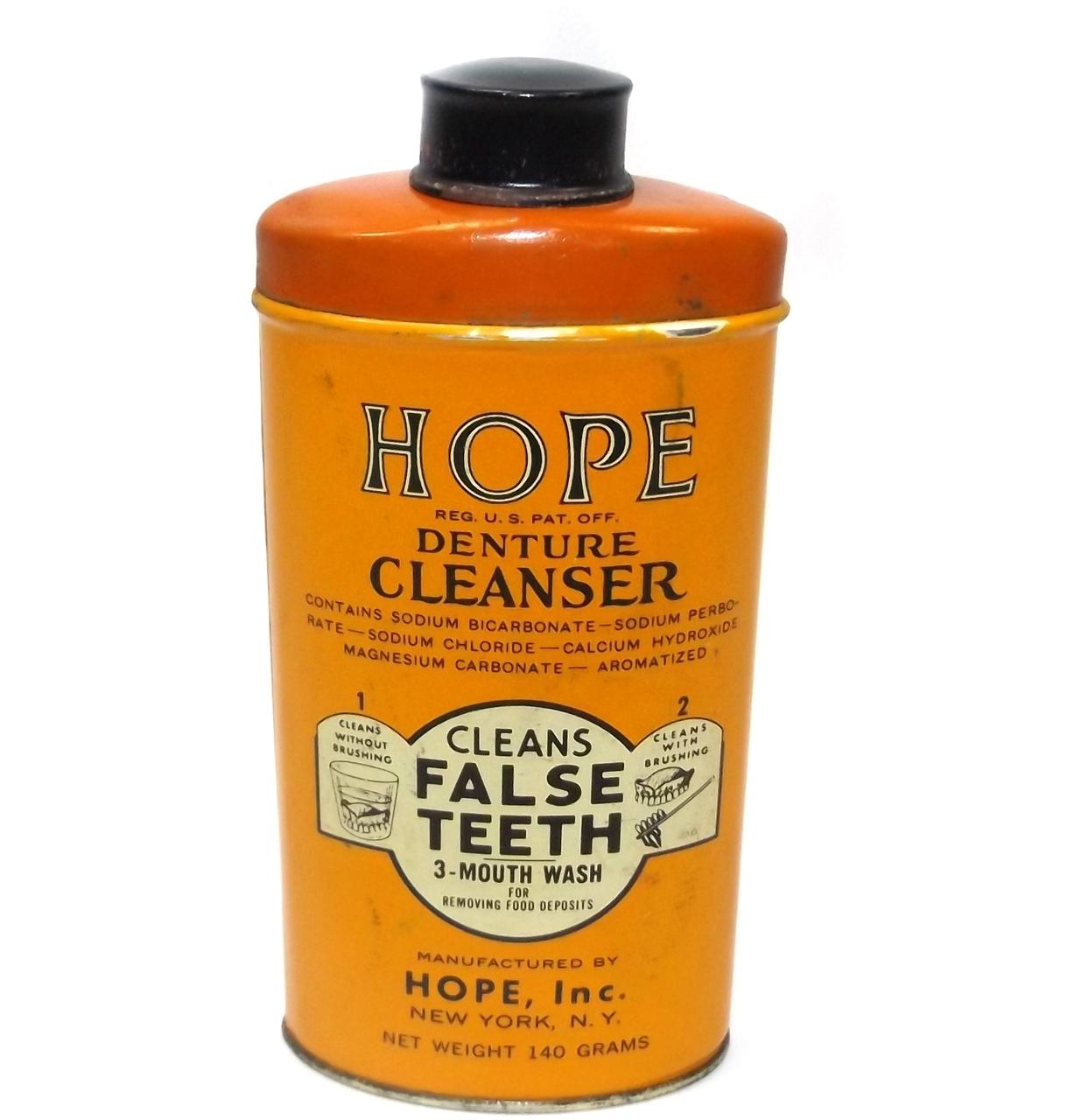Abc Dental Care details about vintage hope denture cleanser dental false teeth cleaning  powder advertising tin