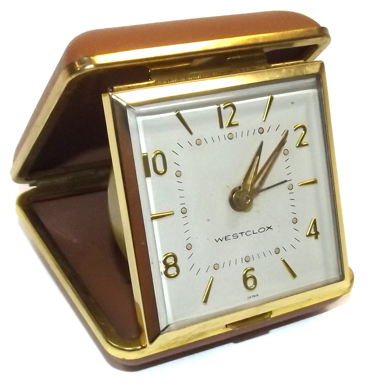 Vintage Working Westclox Wind Up Travel Alarm Clock Folding Portable