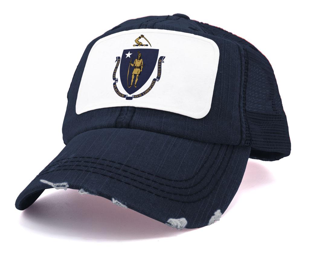 Vintage Design | Leather Patch Massachusetts Outline adjustable hat MA Hat Vintage License Plate Design Massachusetts Black Dad Cap