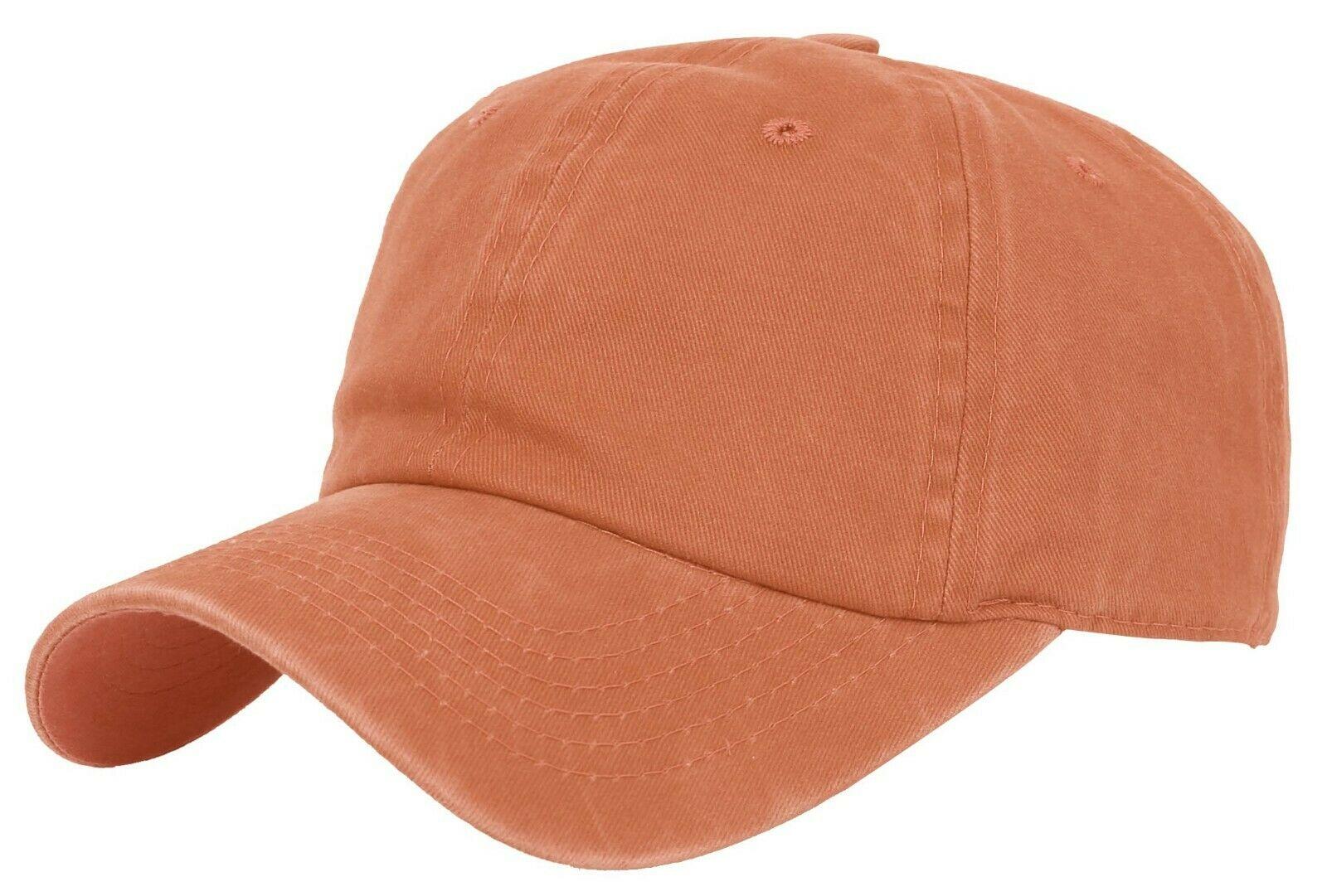 BASEBALL-CAP-Plain-Dad-Hat-Low-Profile-Vintage-Washed-Pigment-Adjustable thumbnail 12