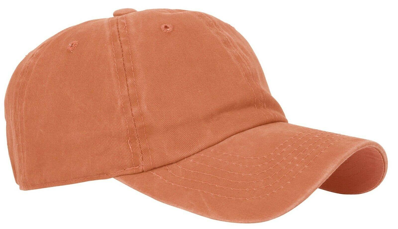 BASEBALL-CAP-Plain-Dad-Hat-Low-Profile-Vintage-Washed-Pigment-Adjustable thumbnail 11