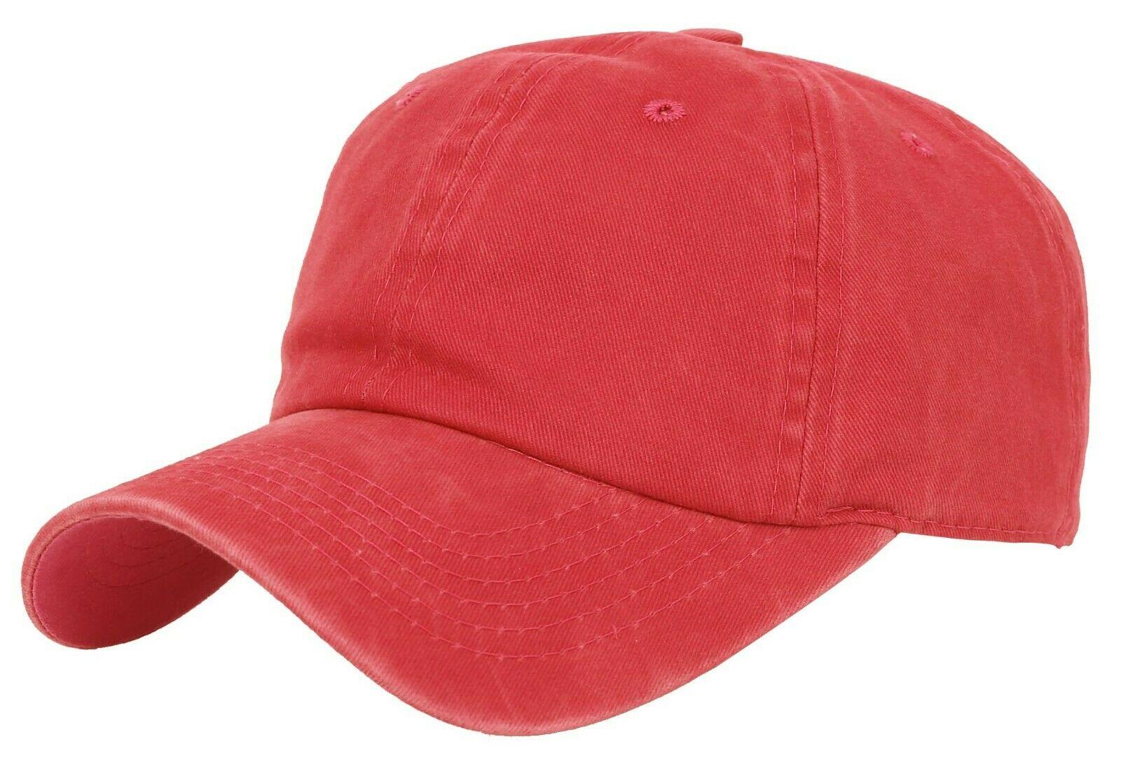 BASEBALL-CAP-Plain-Dad-Hat-Low-Profile-Vintage-Washed-Pigment-Adjustable thumbnail 16
