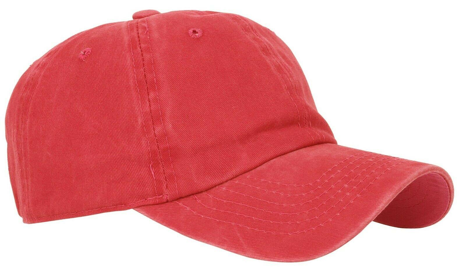 BASEBALL-CAP-Plain-Dad-Hat-Low-Profile-Vintage-Washed-Pigment-Adjustable thumbnail 15