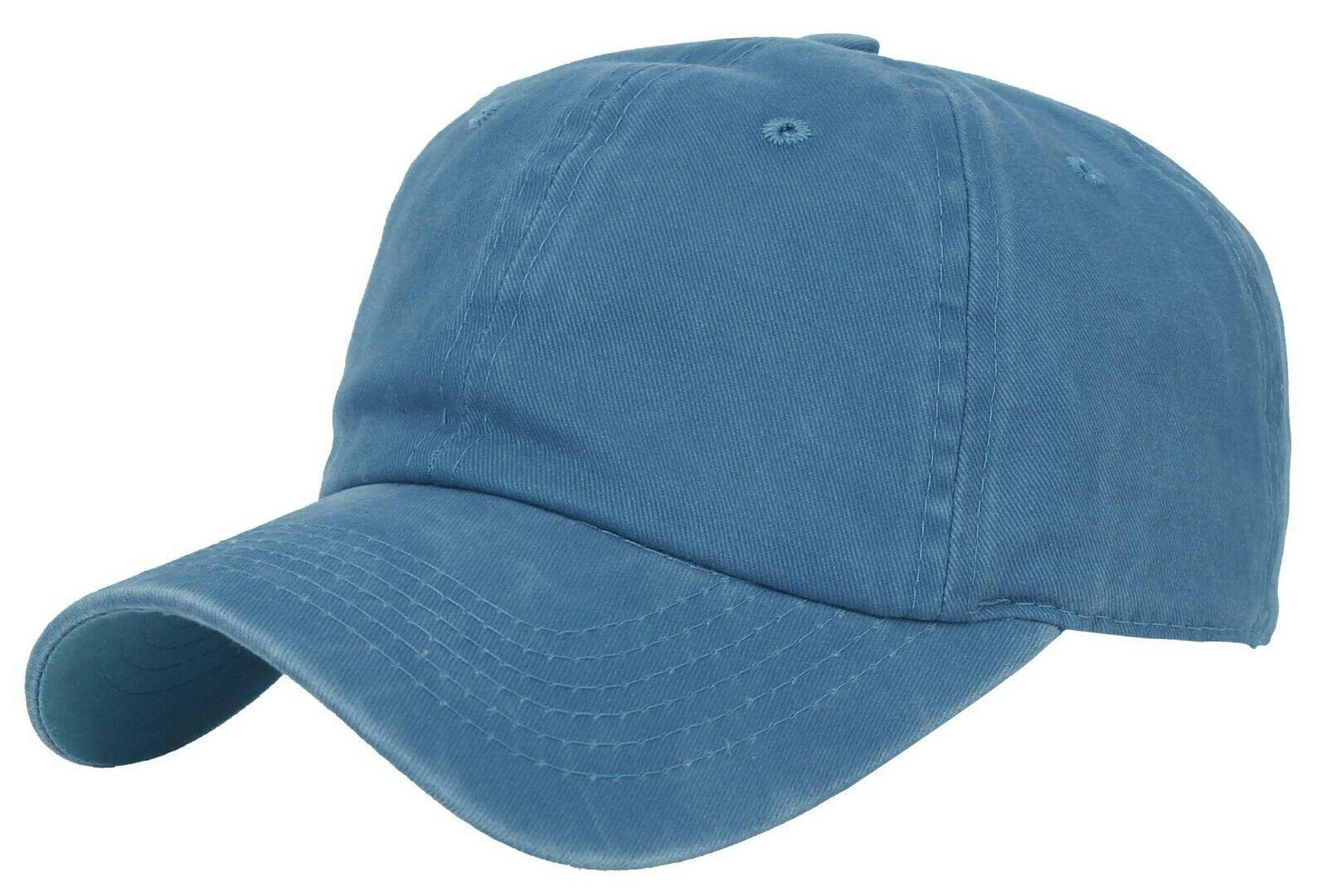 BASEBALL-CAP-Plain-Dad-Hat-Low-Profile-Vintage-Washed-Pigment-Adjustable thumbnail 20