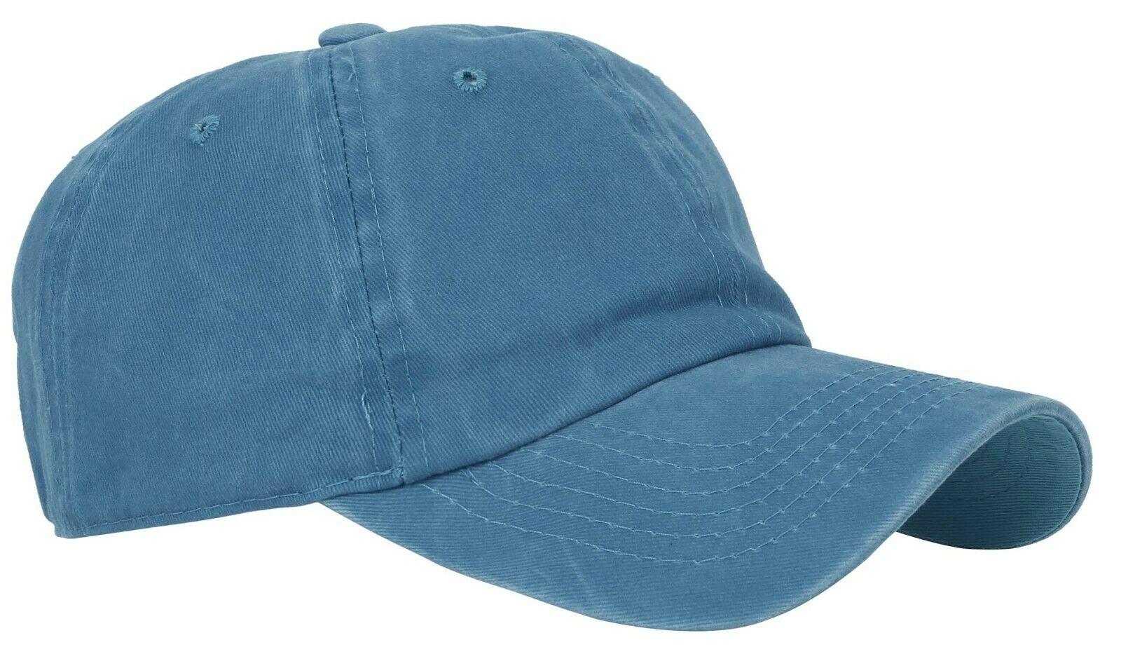 BASEBALL-CAP-Plain-Dad-Hat-Low-Profile-Vintage-Washed-Pigment-Adjustable thumbnail 19