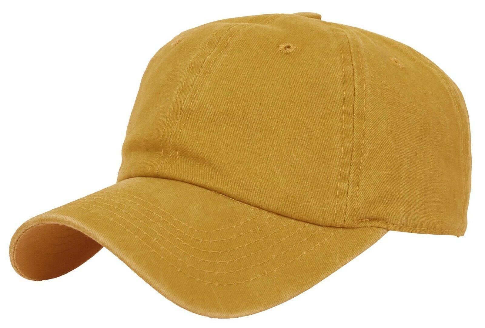BASEBALL-CAP-Plain-Dad-Hat-Low-Profile-Vintage-Washed-Pigment-Adjustable thumbnail 24