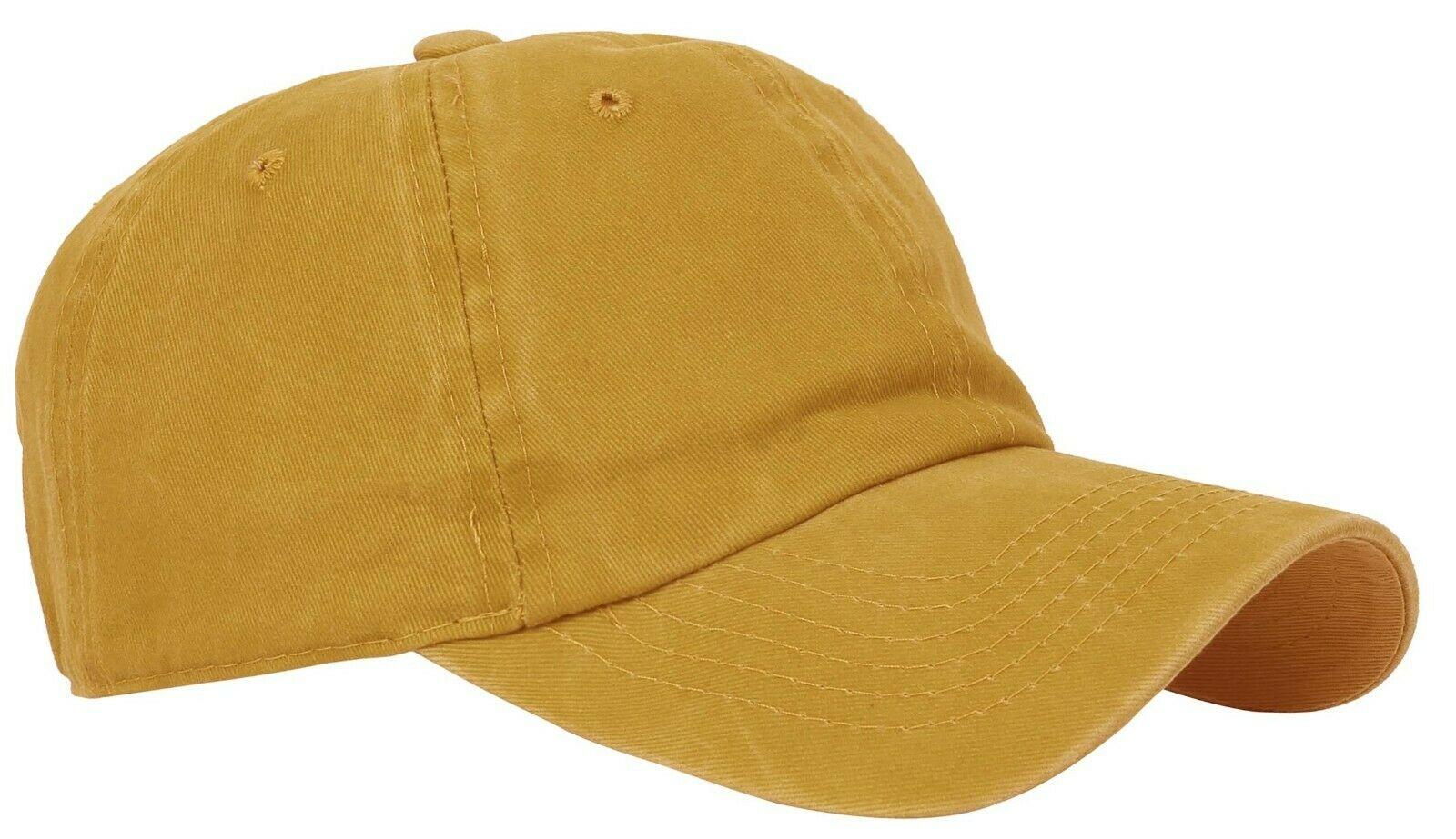 BASEBALL-CAP-Plain-Dad-Hat-Low-Profile-Vintage-Washed-Pigment-Adjustable thumbnail 23