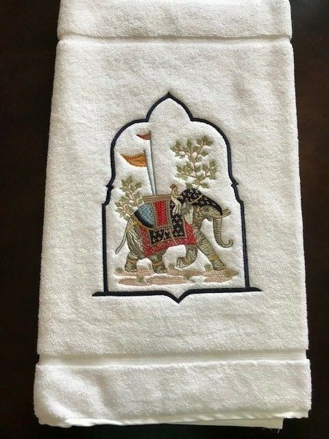 High-End-Embroidered-Turkish-Cotton-Towel-Elephant-Design-Ivory-White thumbnail 11