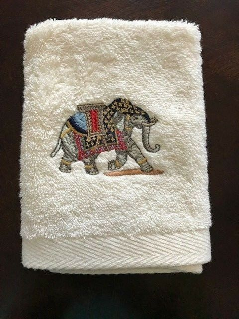 High-End-Embroidered-Turkish-Cotton-Towel-Elephant-Design-Ivory-White thumbnail 6