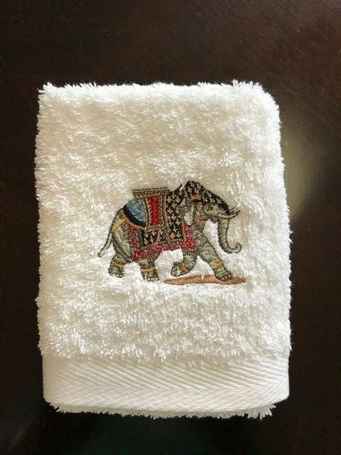 High-End-Embroidered-Turkish-Cotton-Towel-Elephant-Design-Ivory-White thumbnail 5