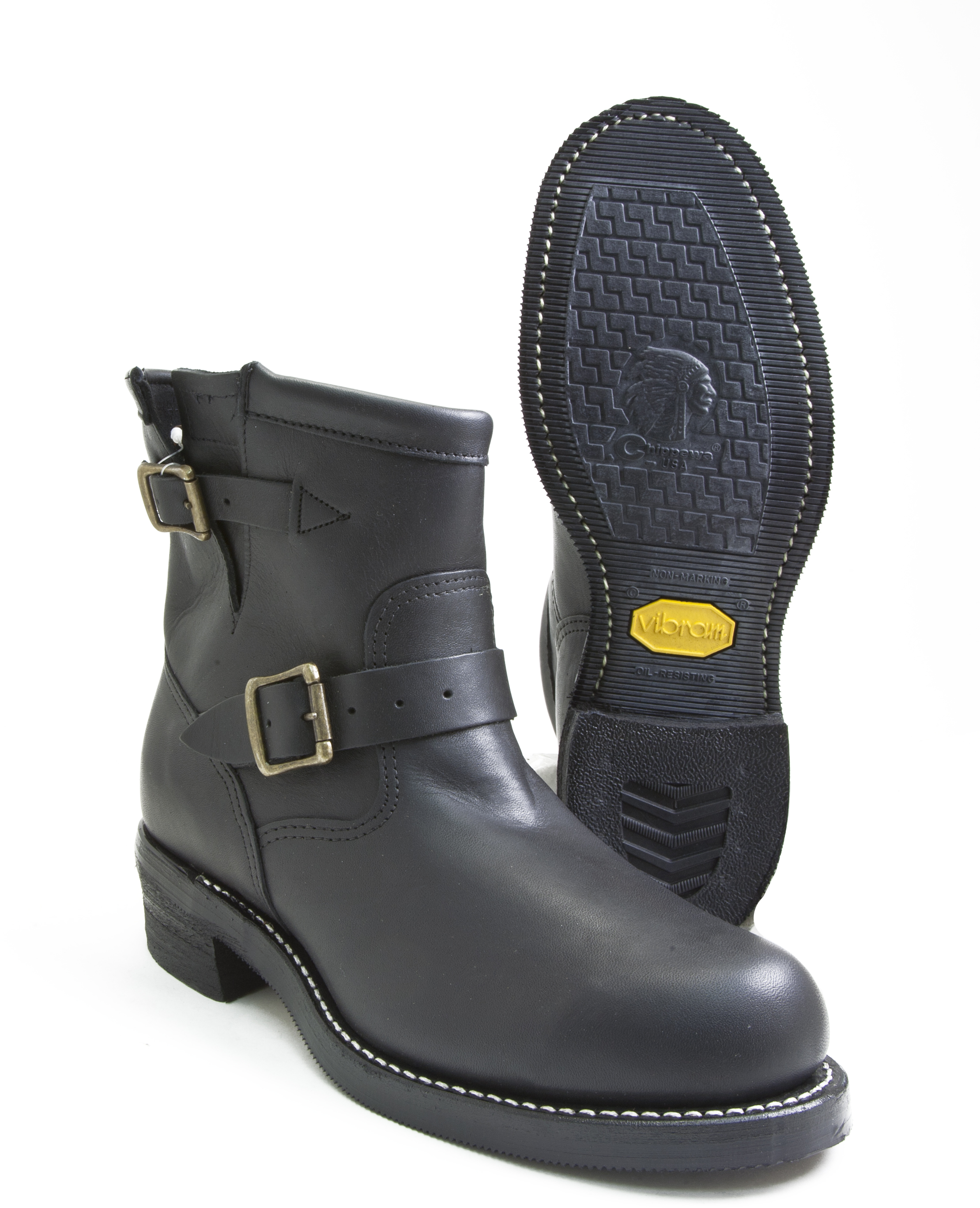 df5073b8177 Details about Chippewa Low Engineer 27872 Black Leather Steel Toe  Motorcycle Boot Made In USA