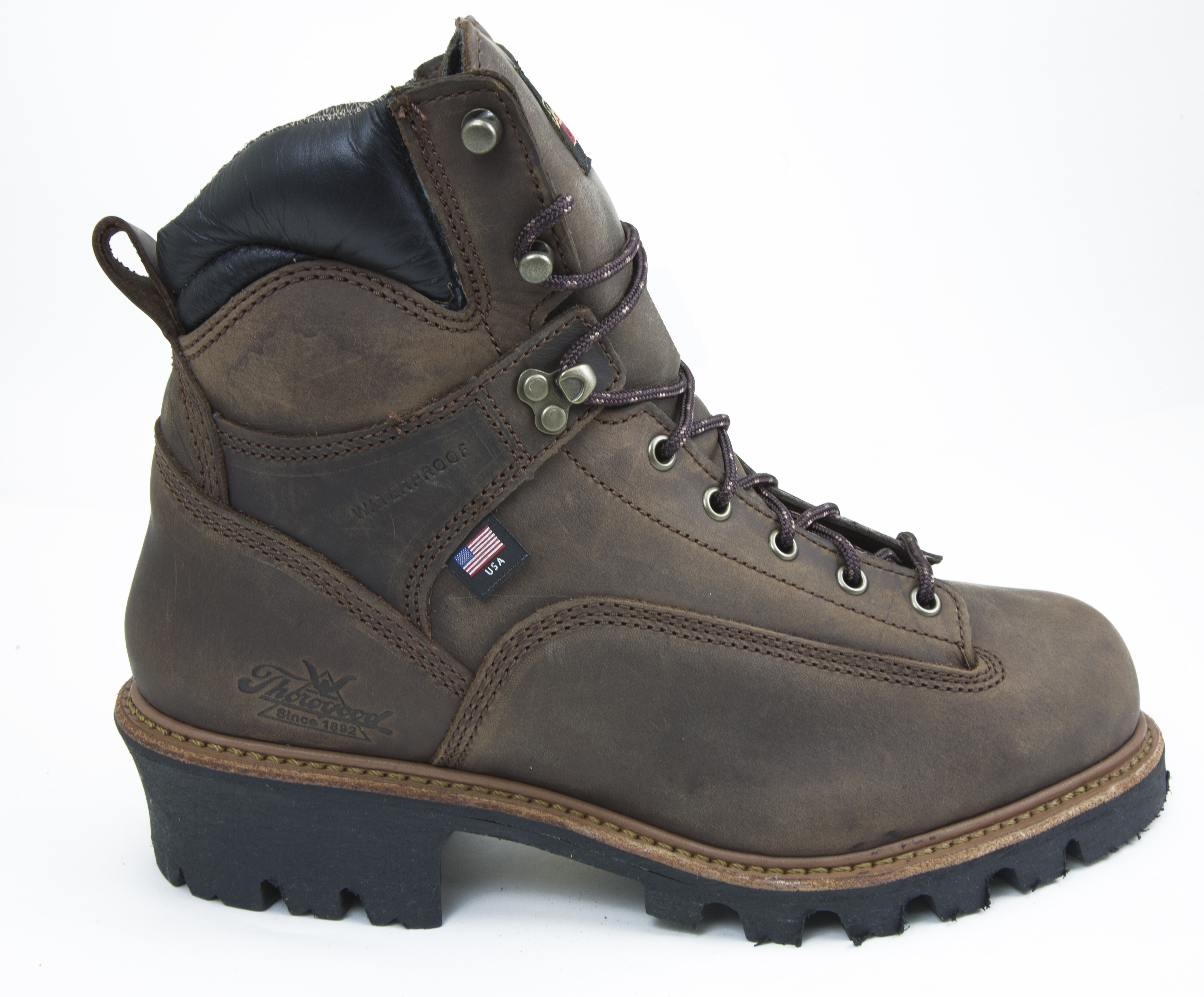 e67e1af5ec7 THOROGOOD BROWN LEATHER Steel Toe Waterproof Work Logger Made in USA  804-3566