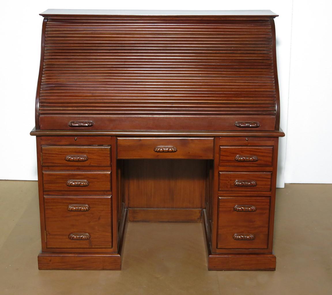 Solid Mahogany Executive Roll Top Office Desk F 317 Na