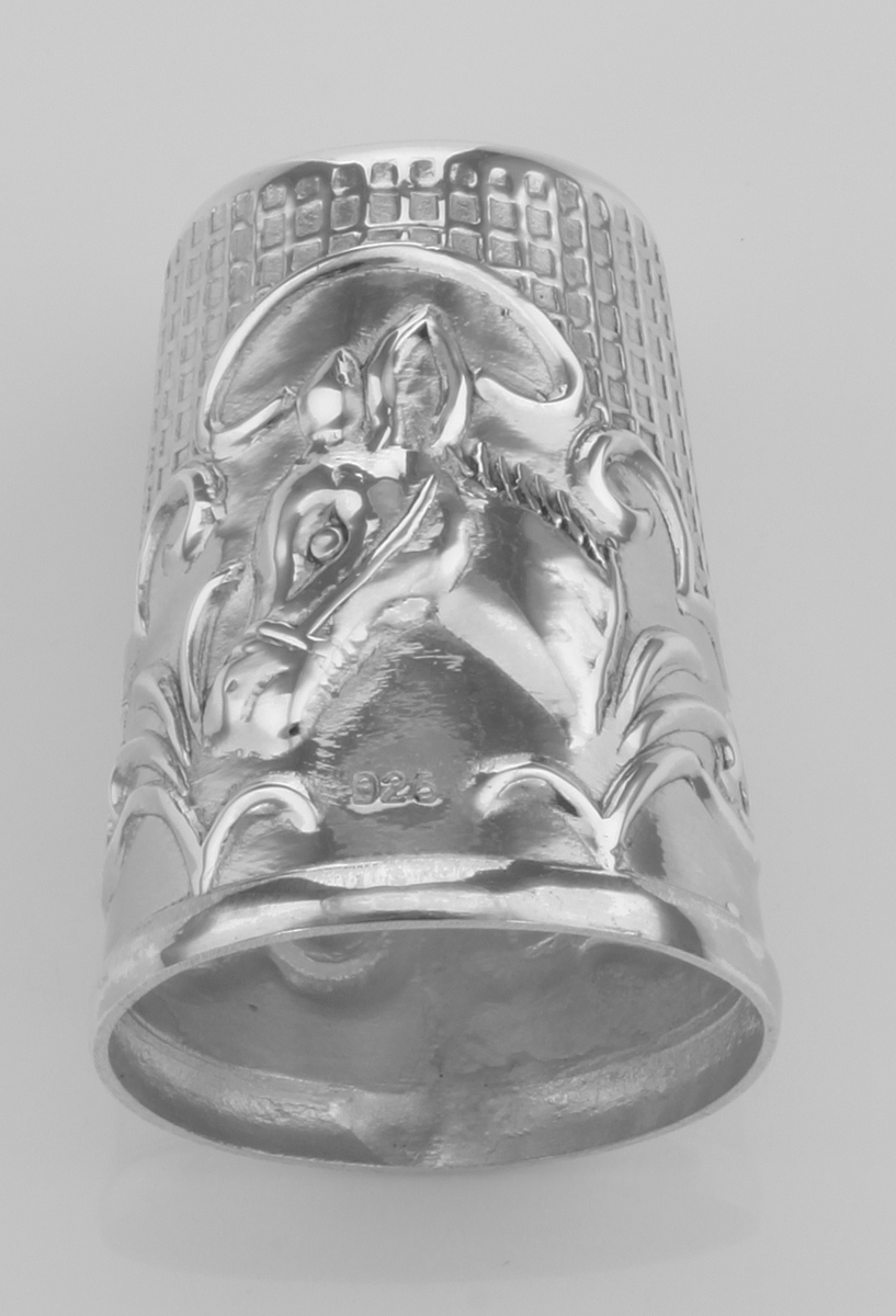 Antique Style Silver Horse//Donkey Head Sewing Thimble Sterling Silver