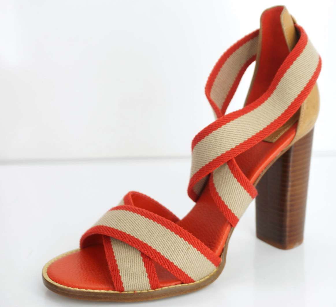 Tory Burch Laurie Red Tan Striped Canvas High Heel Ankle Sandals SZ 9.5 New  285