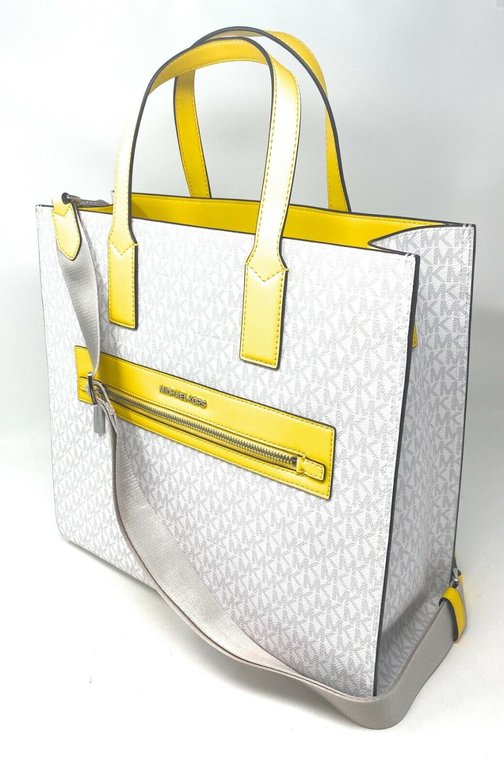 thumbnail 3 - Michael Kors Kenly Large North South Tote PVC Leather Crossbody MK Signature