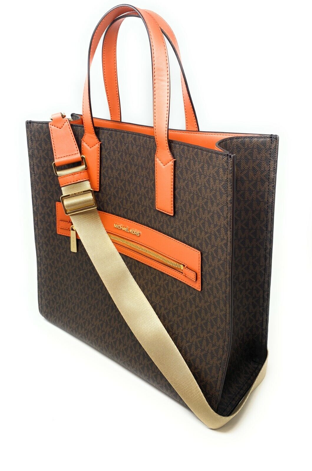 thumbnail 9 - Michael Kors Kenly Large North South Tote PVC Leather Crossbody MK Signature