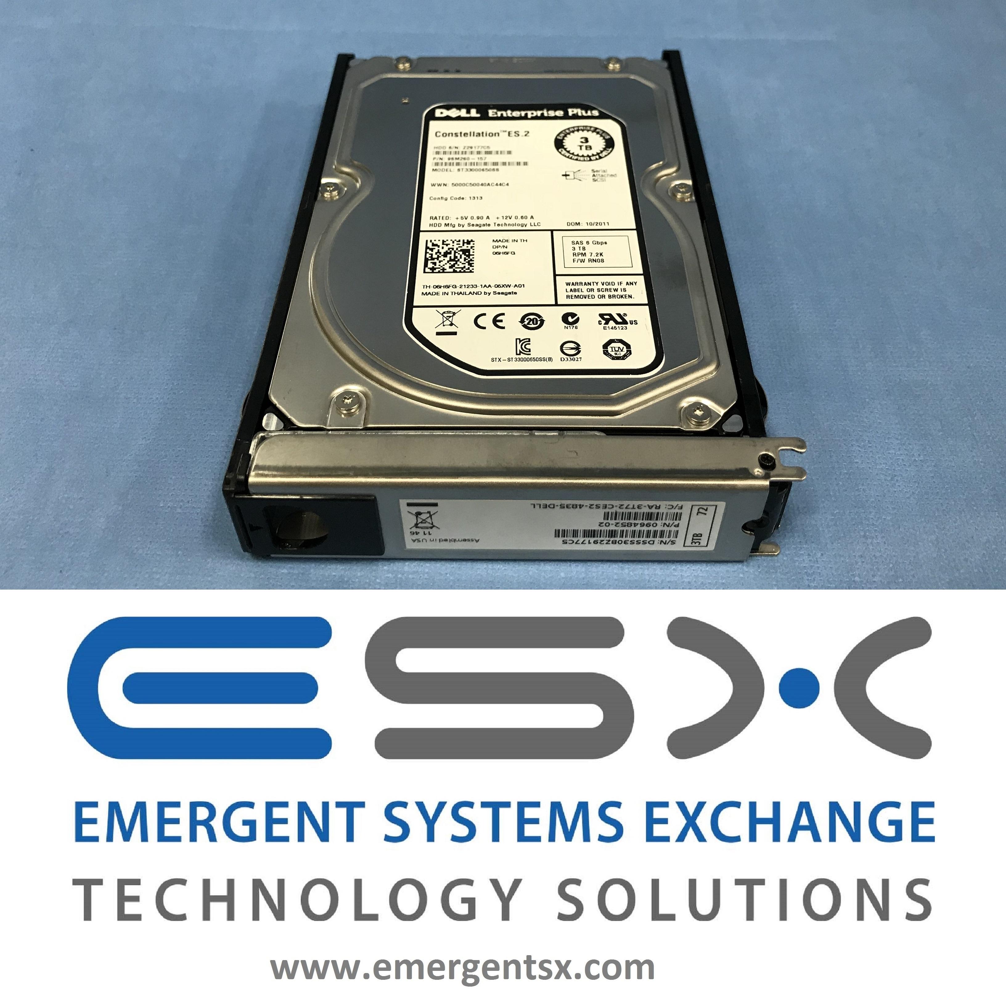 6H6FG 06H6FG ST33000650SS DELL 3TB 7.2K 6G LFF 3.5/'/' SAS HDD HARD DRIVE NO TRAY