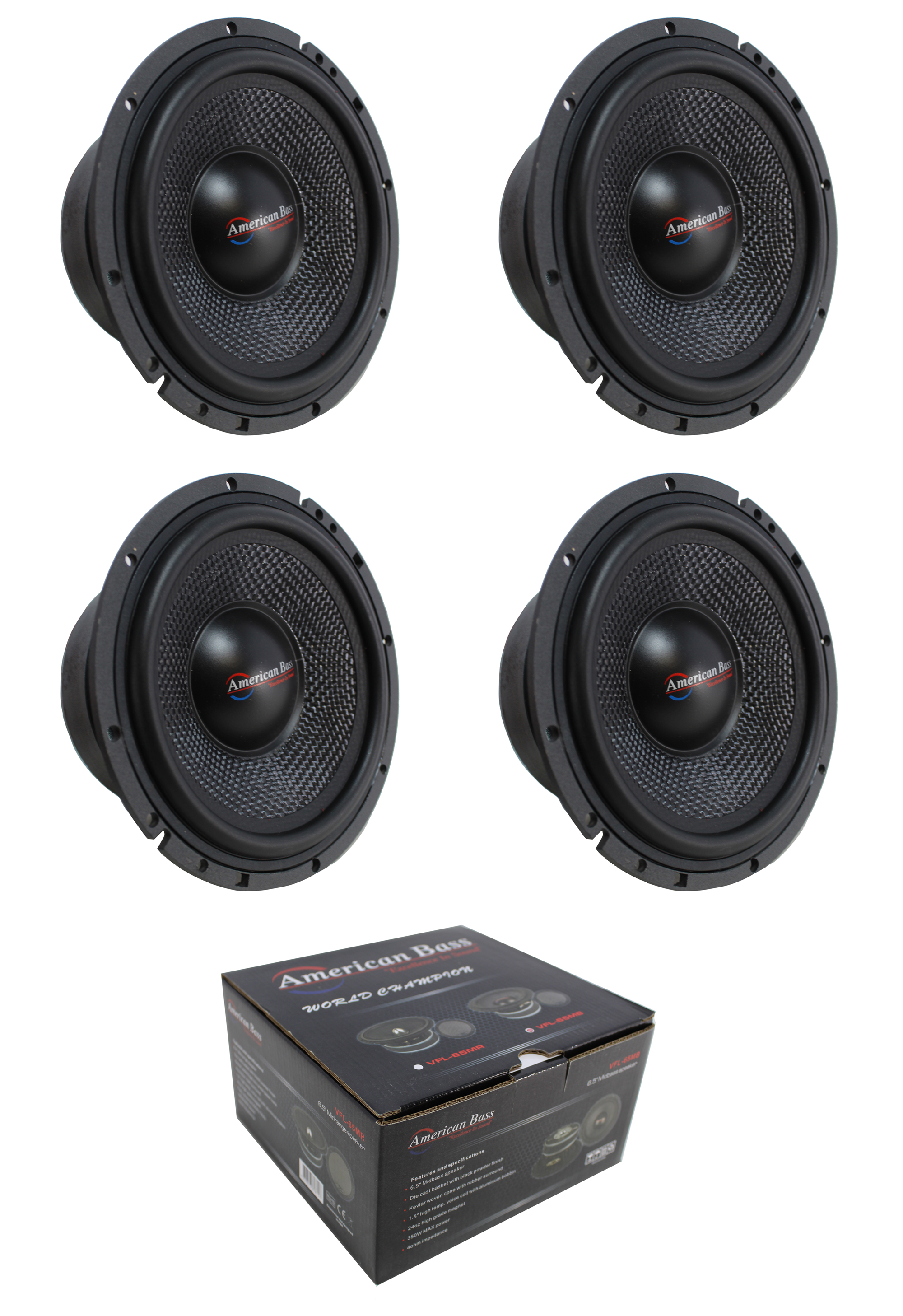 """American Bass VFL65MB 6.5/"""" Midbass Open Back With Grill 350W Max Sold Each"""