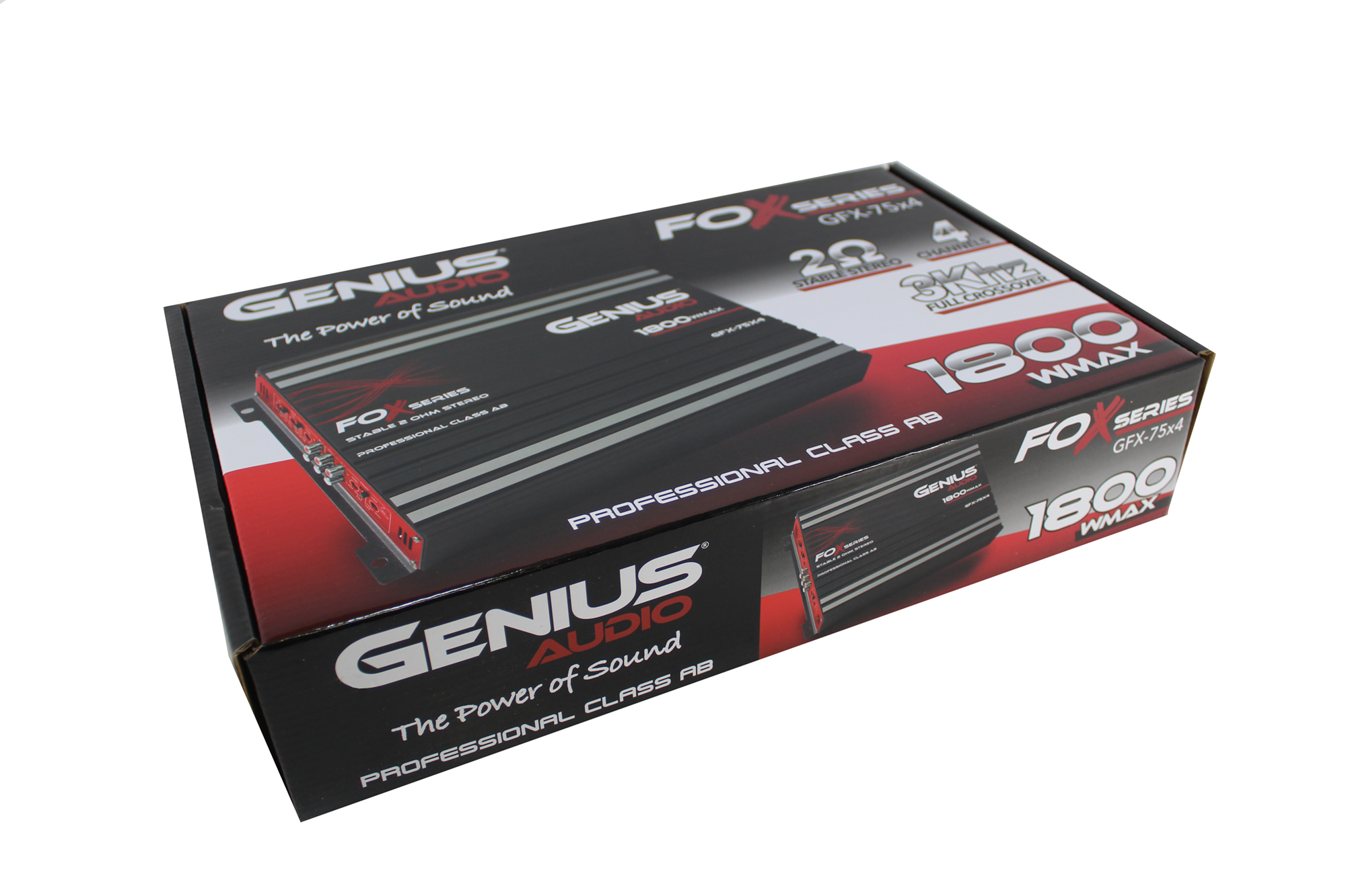 Genius GFX-75X4 1800 Watts-Max Car Amplifier 4-Channels Professional Class-AB 2-Ohm Stable Stereo