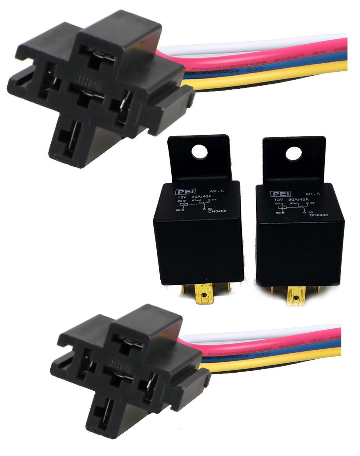 5PCS 30//40 AMP Relay Harness Short SPDT 12V Bosch Style Automotive Relay