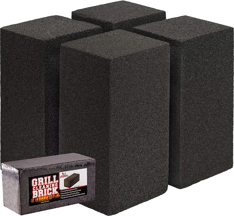 miniature 9 - 8x4 Heavy-Duty Grill Cleaning Brick Multipack, Non-Scratch Black Pumice Stone