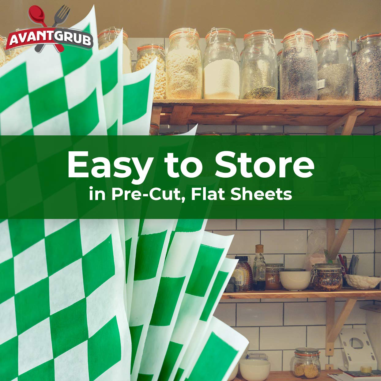 miniature 32 - [300 Pack] Retro Deli Sandwich Liner 15x15 Wax Patty Paper Sheets by Avant Grub