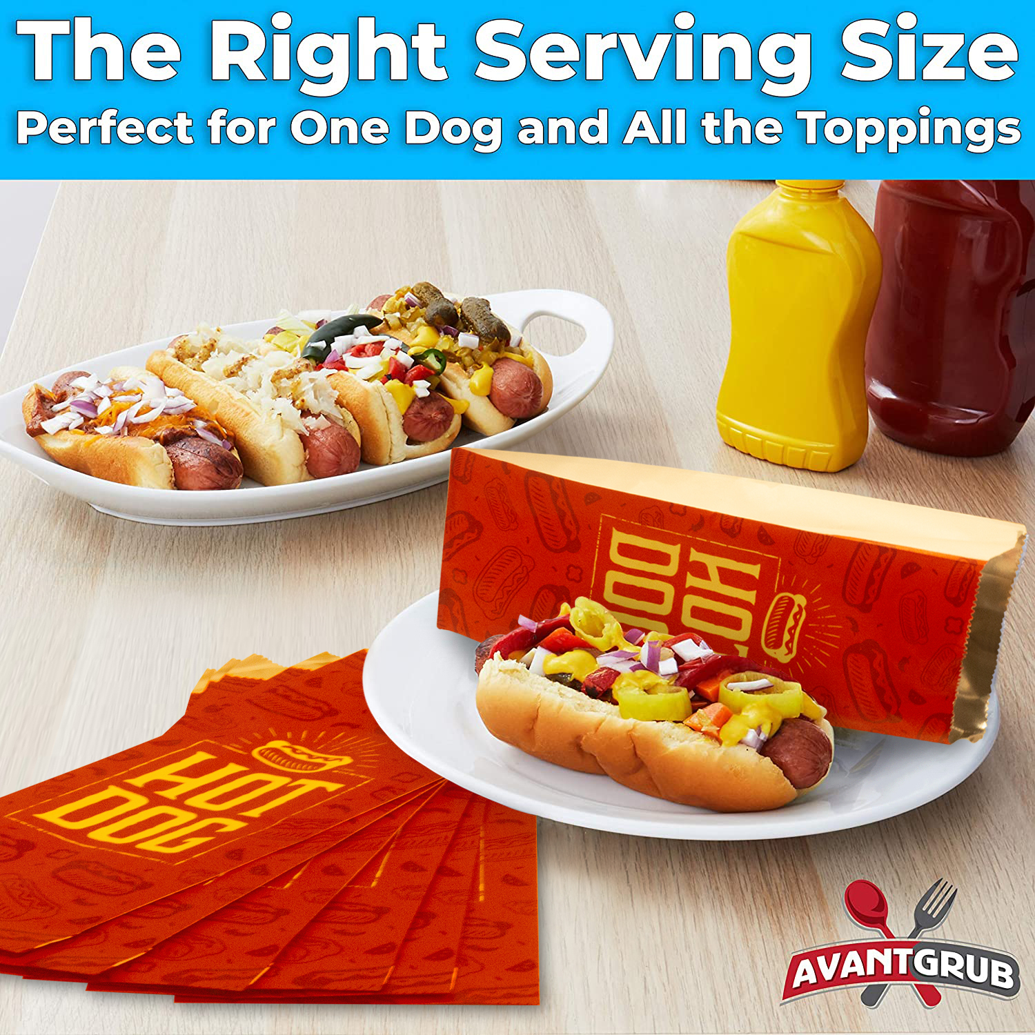 miniature 39 - Classic Foil Hot Dog Wrapper Pack for Carnival & Concession Stand by Avant Grub