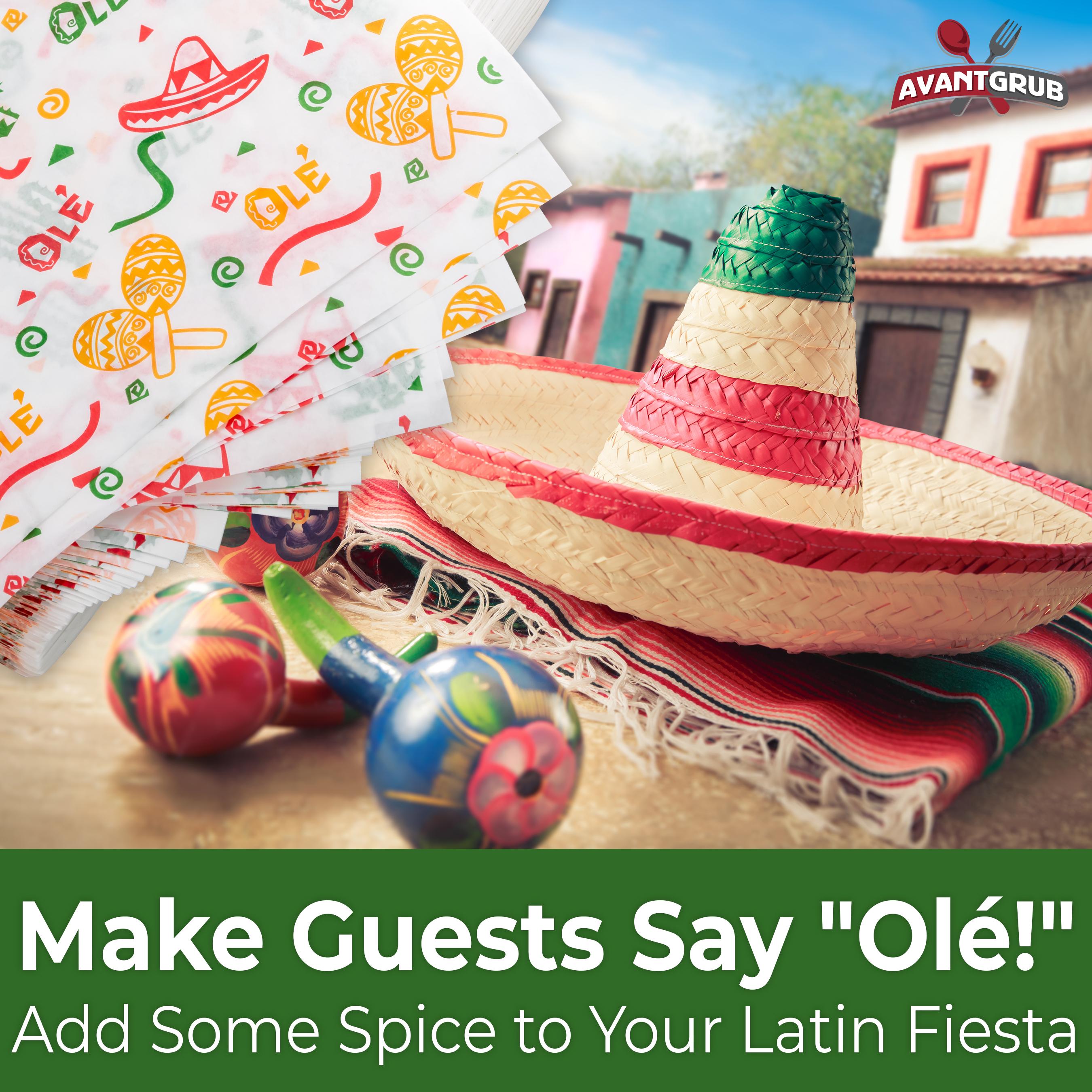 miniature 21 - Fiesta Style Mexican Deli Paper Liner 12x12 Burrito & Taco Wrapper by Avant Grub