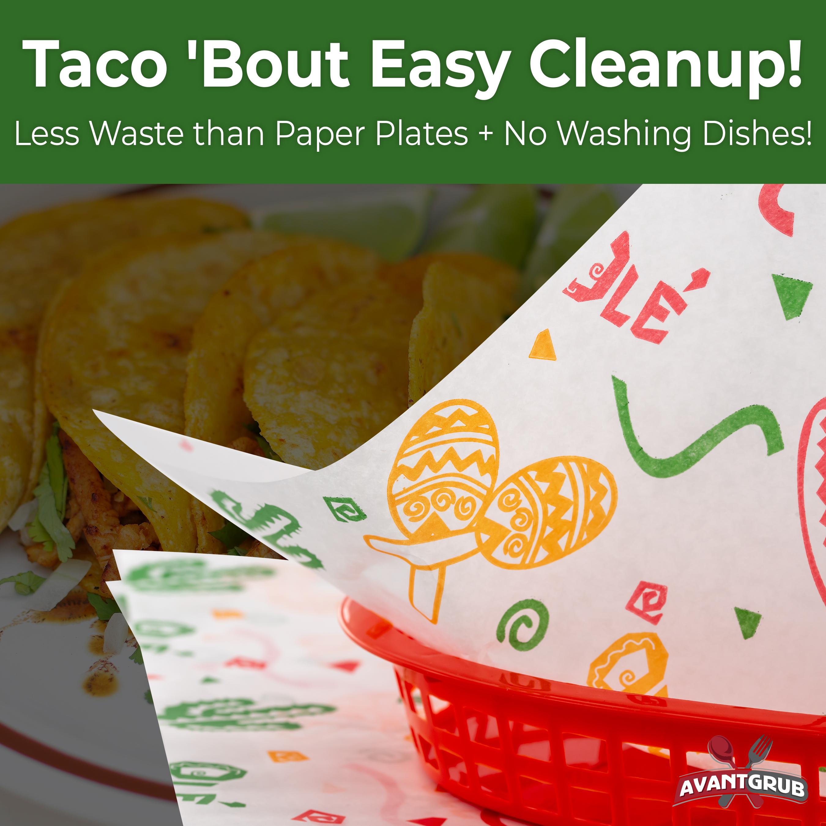 miniature 8 - Fiesta Style Mexican Deli Paper Liner 12x12 Burrito & Taco Wrapper by Avant Grub