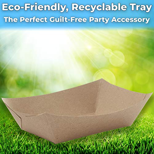 miniature 18 - 3 Lb Kraft Brown Paper Food Trays Recyclable & Compostable by Avant Grub
