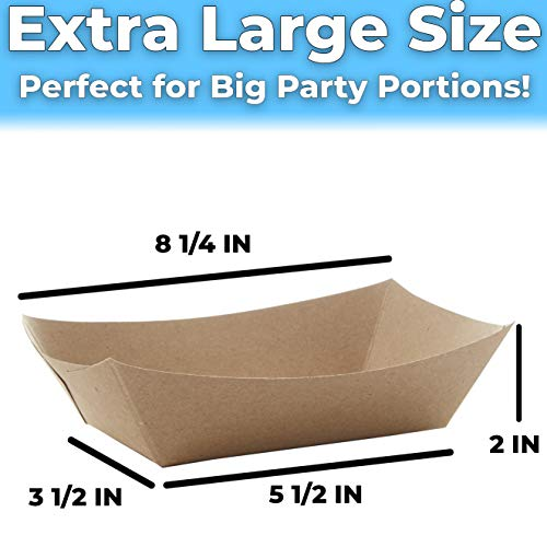 miniature 22 - 3 Lb Kraft Brown Paper Food Trays Recyclable & Compostable by Avant Grub