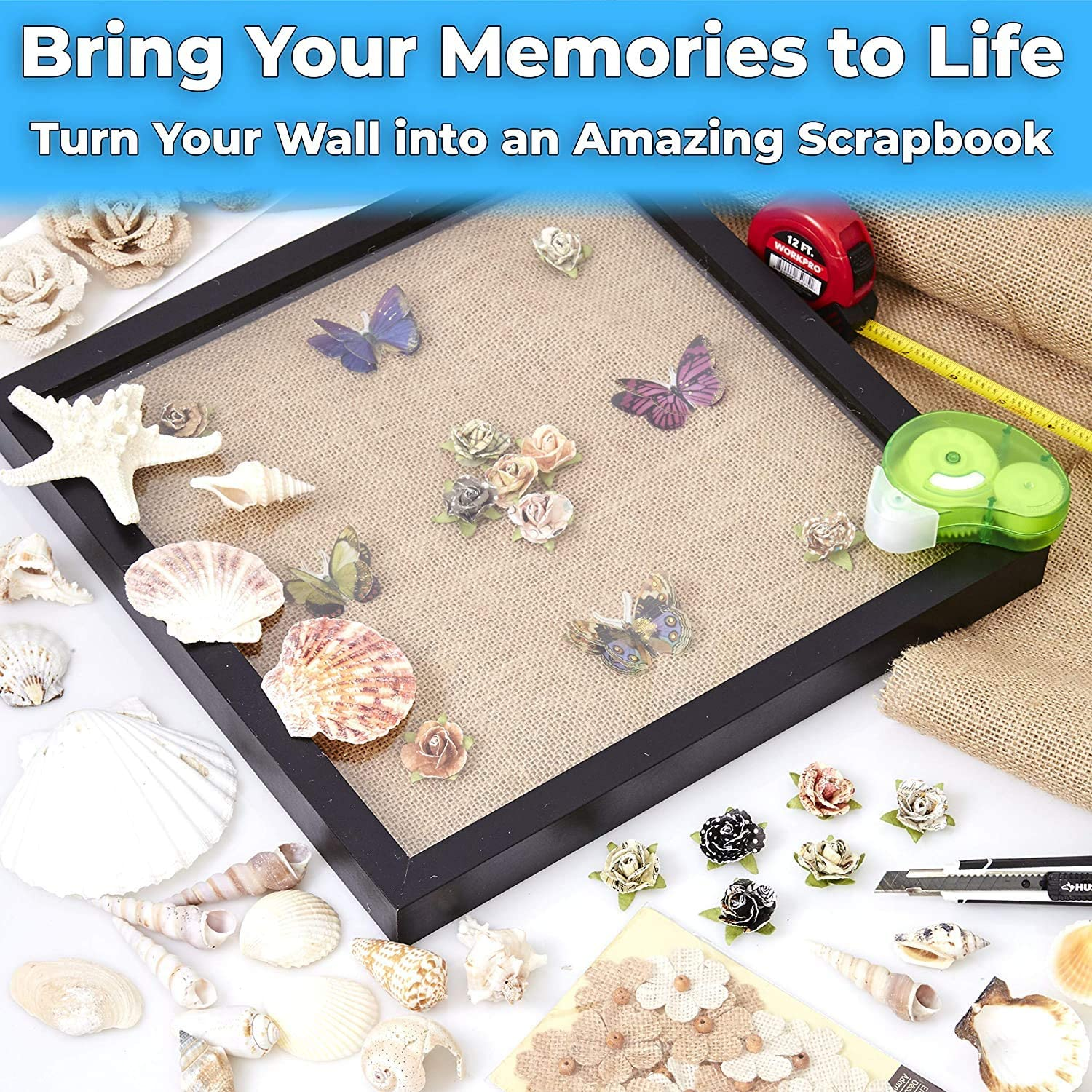 """miniature 16 - [8x8 12x12] Shadow Box Display Case 1"""" Depth Wood Picture Frame by Eucatus"""