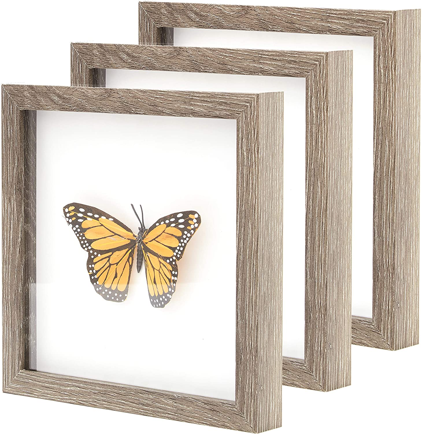 """miniature 31 - [8x8 12x12] Shadow Box Display Case 1"""" Depth Wood Picture Frame by Eucatus"""