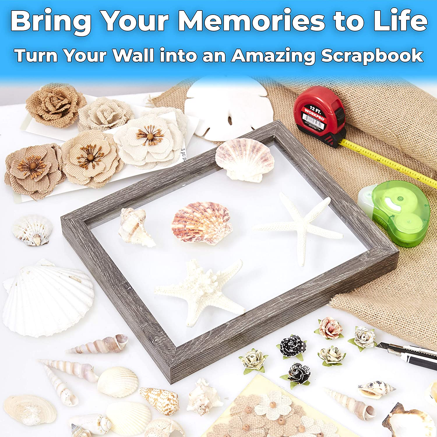 """miniature 30 - [8x8 12x12] Shadow Box Display Case 1"""" Depth Wood Picture Frame by Eucatus"""