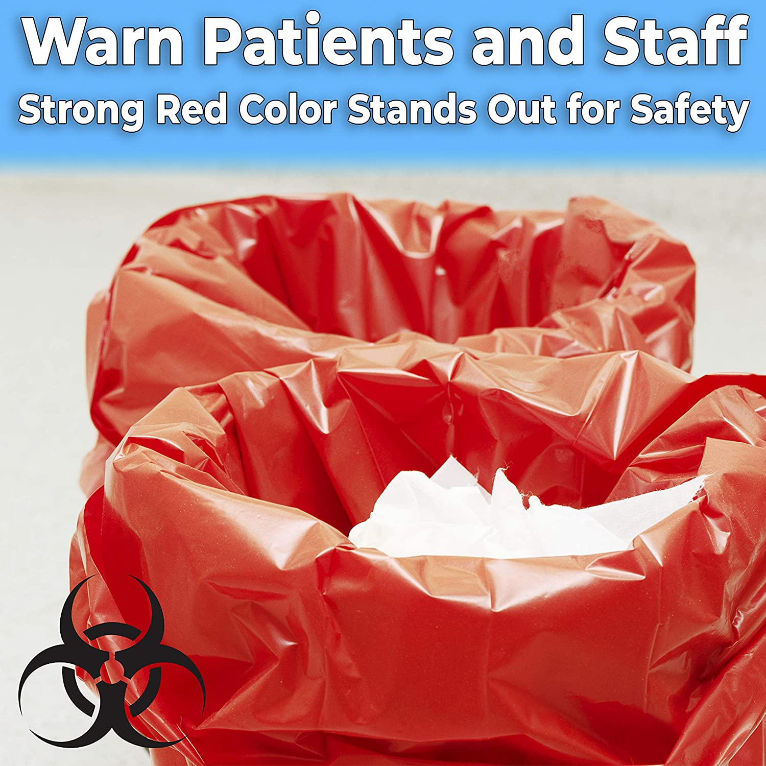 miniature 6 - 10 Gallon Biohazard Bag for Infectious Waste Trash Liners, Red