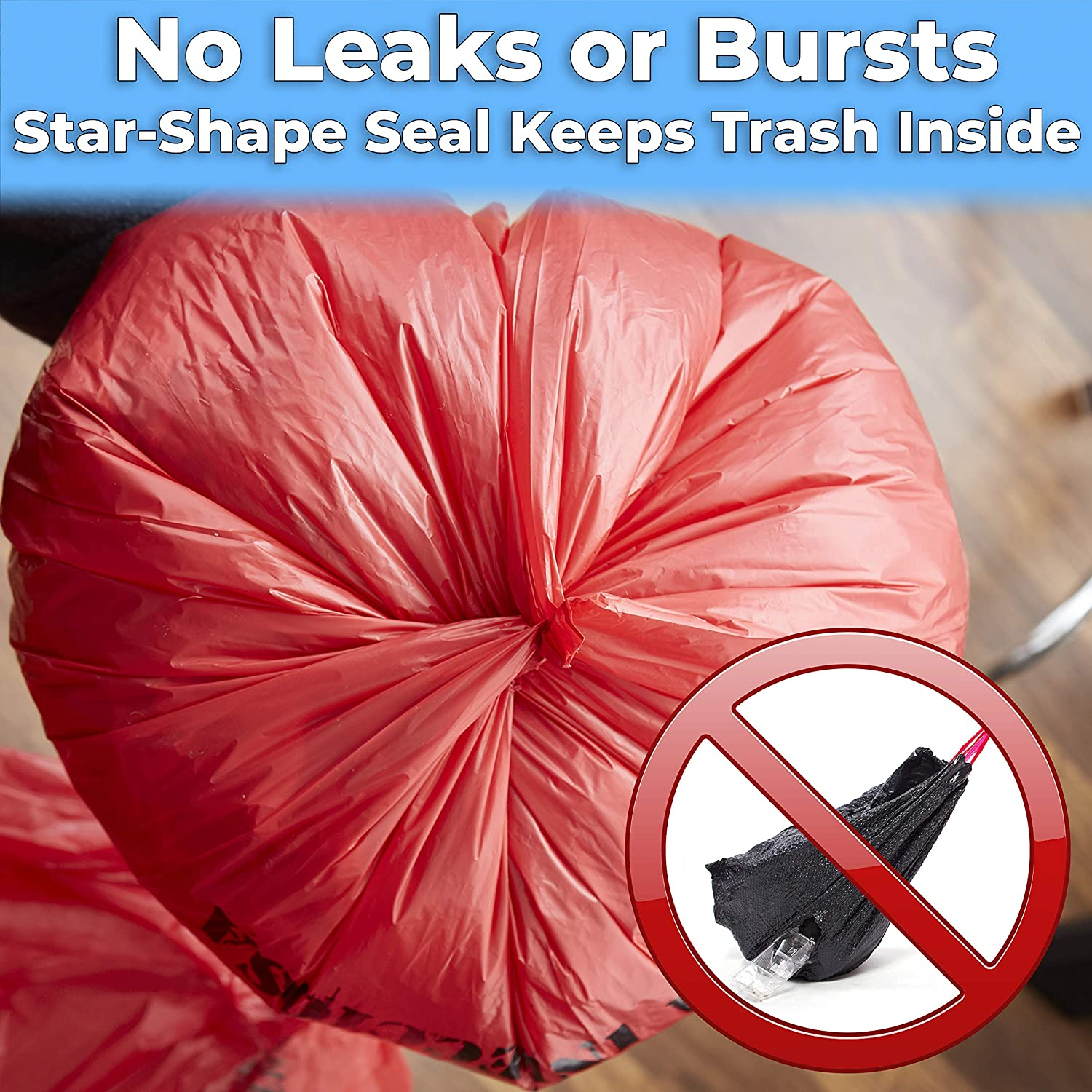 miniature 4 - 10 Gallon Biohazard Bag for Infectious Waste Trash Liners, Red