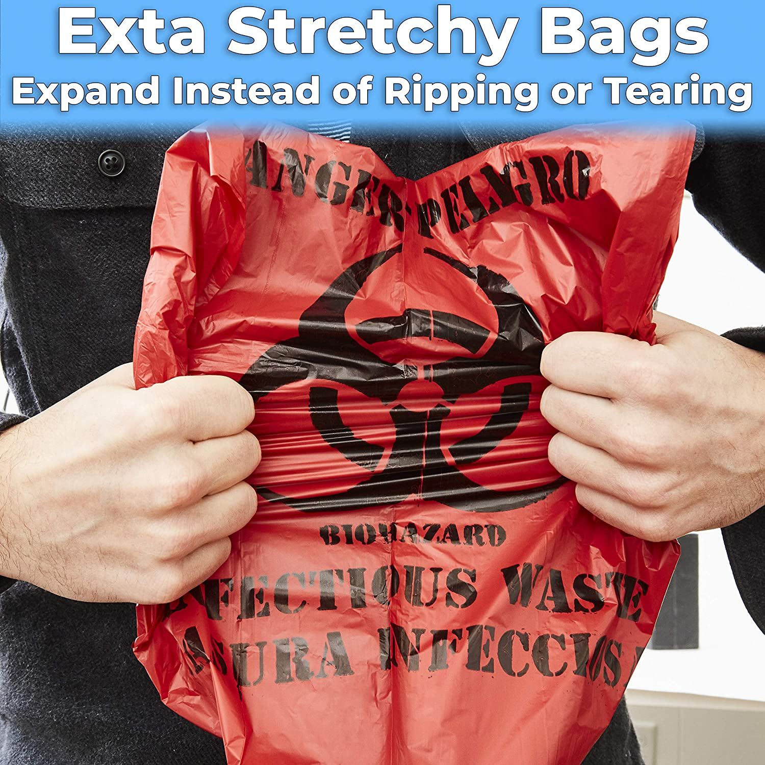 miniature 15 - 10 Gallon Biohazard Bag for Infectious Waste Trash Liners, Red