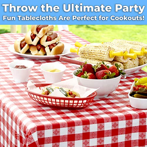 miniature 11 - Red And White Checkered Tablecloth for Picnic Table Cover, Waterproof Vinyl