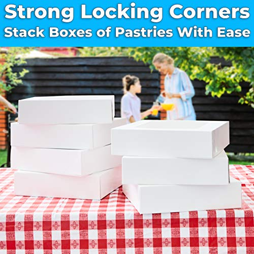 miniature 20 - Bright White Disposable 10x10 Bakery Boxes with Window for Cake, Pie & Pastry